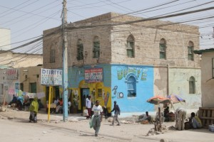 Colourfully painted shop front in Hargeisa