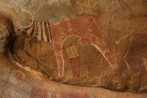 Decorated cow and human figure, Las Geel
