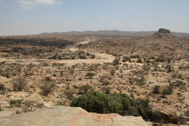 The view from the Las Geel caves, across the dry wadis