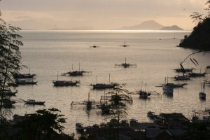 Fishing boats moored off Labuanbaju in the evening