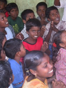 Kallar village, Nagapattinam, children singing