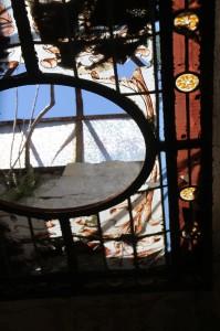 broken windows in the tomb ceiling