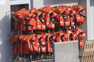 life vests galore for the water sporters