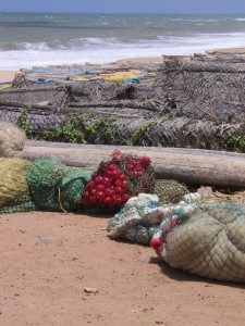 colourful fishing nets on the beach of Kanyakumari