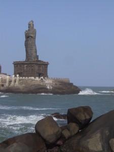 large statue on a rocky island off the coast of Kanyakumari