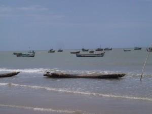 fishing boats lined up for the coast of Kanyakumari