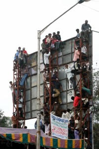 those who didn't find a place in the stands, found alternative accomodation