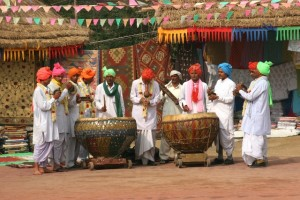 one of the traditional music bands at the Surajkund Mela