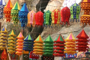 appliqué-lampshades from Pipli is Orissa State, in one of the craft fair stalls