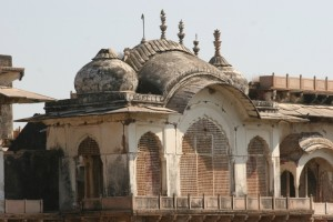 stone lattice work and an unusual roof structure of the Maharaja's palace