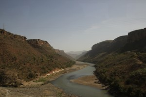 crossing the Blue Nile, deeply eroded in the volcanic landscape, on the way from Addis Ababa to Bahir Dar