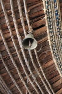 bell at the ceiling of the verandah, Ura Kidane Mihret church