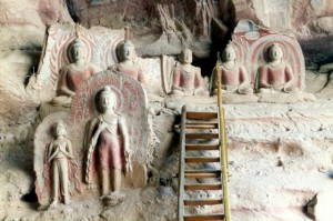 more coloured sculptures (Buddha and Bodhisattva)