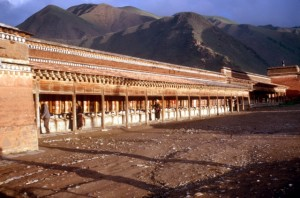 the prayer wheels, at sunset