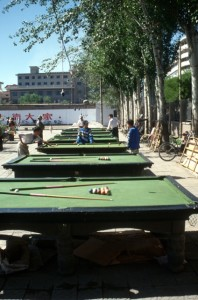 billiard tables in the park