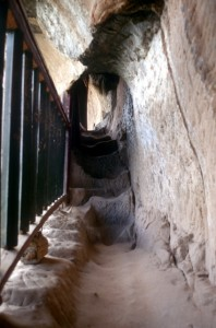 tunnels in the rocks connect the various temple chambers