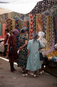 Uygur women shopping for cloth