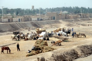 offloading market supplies in a dry river bed