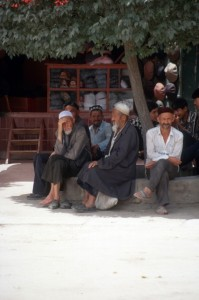 and the men in front of the mosque