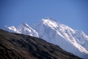 the icy top of Rakaposhi, one of Pakistan's highest mountains at 7788m