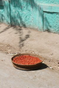chillies drying in a Dire Dawa street