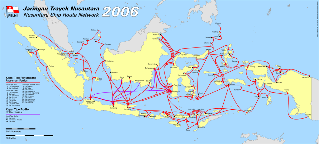 the most recent Pelni route map on Internet is from 2006...