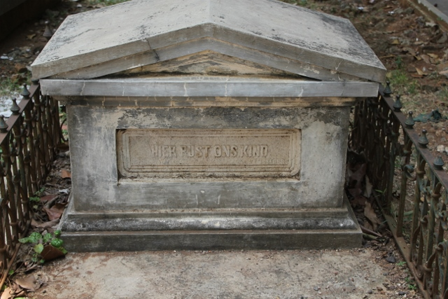 perhaps the saddest grave in the cemetery, `here rest our child'