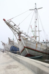 the tall ships, Makassar schooners, although without sail these days, in the Sunda Kelapa harbour