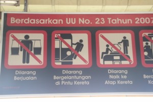 in the train station it tells you NOT to hang out of the train, and NOT to get on the roof; in fact, along some of the platforms metal frames with barbed wire are placed to avoid people climbing on top of the train - perhaps these do get busy on weekdays