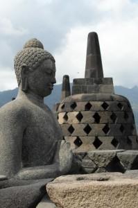 Borobudur, near the top (courtesy one haphazard, accompanying tourist)