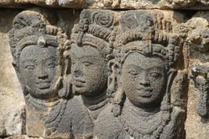 bas-relief of three women