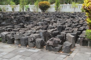 random stones in the garden of the museum, one big jigsaw puzzle