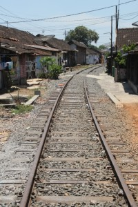 the train tracks pass right through the kampung
