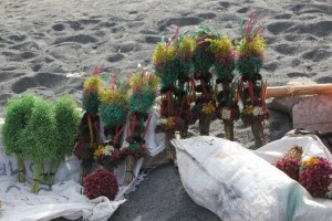 these are flower offerings made by the Tenggar people, to be thrown over the crater edge