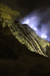 blue fire at night, inside the Ijen Crater