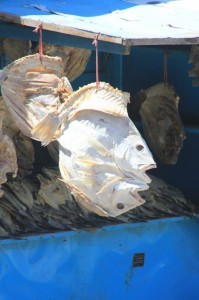 dried fish outside the Makassar fish market