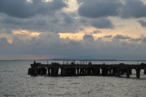 the central jetty, preparing for sunset