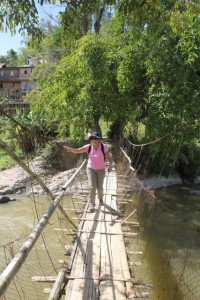 the rickety bamboo bridge, strong enough to hold the haphazard tourist