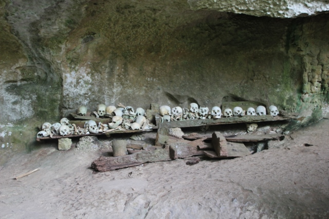 skulls, obviously stacked up by whoever maintains the cemetery