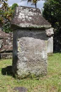 a single tomb, upright
