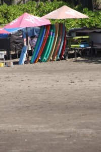 equally, the surfboards are still stacked up