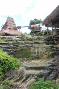 the hill top of Kampung Praijiang is mostly limestone, cut into stairs and paths