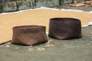woven bamboo baskets are ready to store the rice in