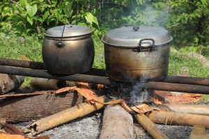 large-scale cooking for the men working on the roof replacement