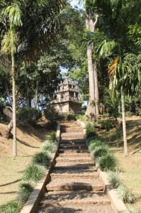 the temple is on top of a low hill