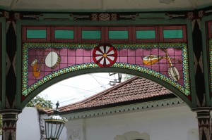 stained glass in the bandstand, Yogyakarta palace