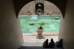 view of the pool in the Water Palace in Yogya's Kraton