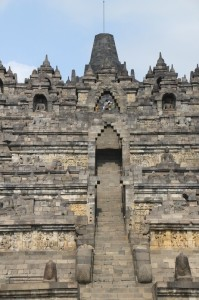 stairs to the top of the Borobudur temple, cutting through nine levels of bas-relief decorations