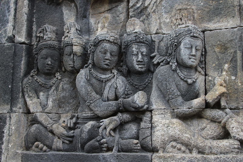 one of the many exquisitely executed bas-reliefs of the Borodudur temple