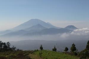 Gunung Merbabu in front, and Merapi in the back (I think)